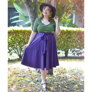 Purple A-Line Bow Skirt
